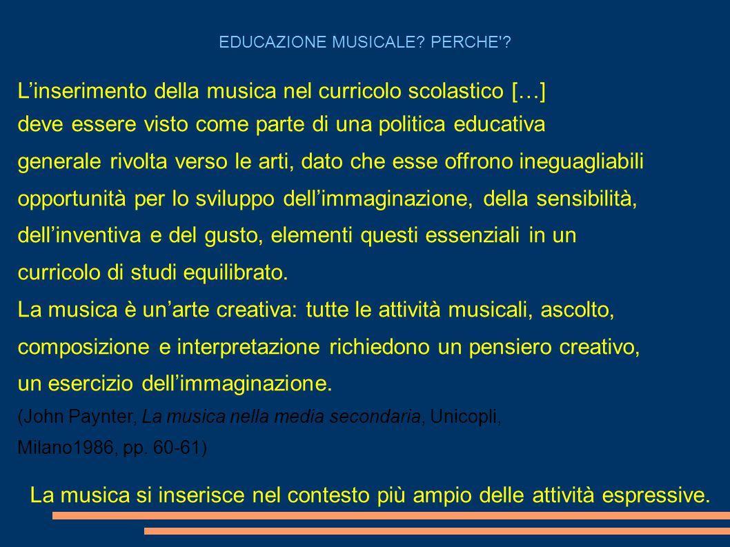 L'inserimento della musica nel curricolo scolastico […]